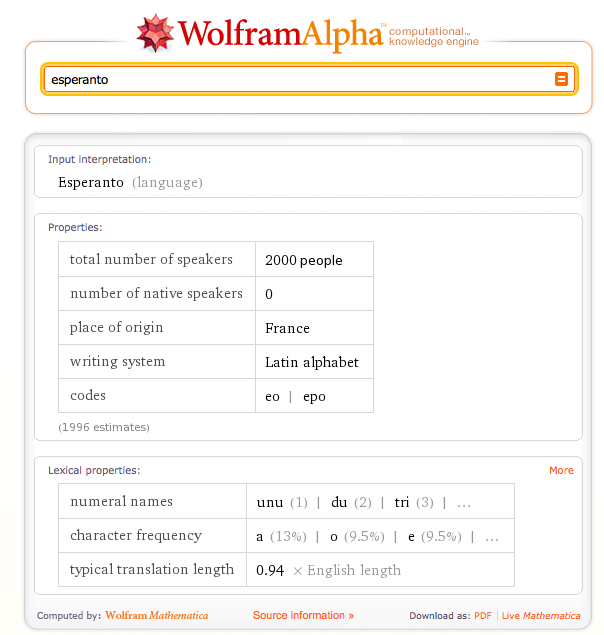 Wolfram Alpha on Esperanto
