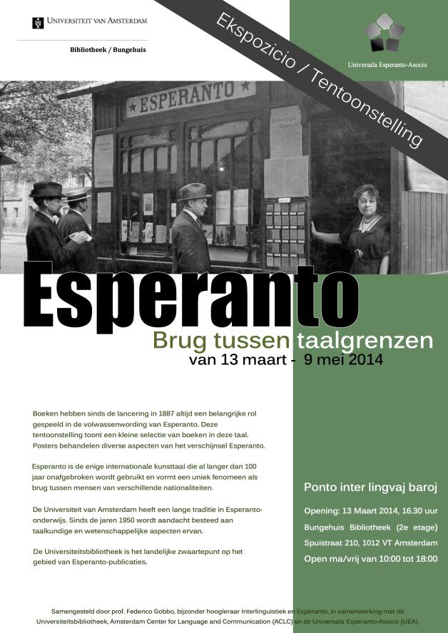 Ekspozicio / Tentoonstelling Esperanto Brug tussen taalgrenzen